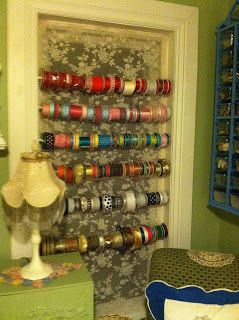 Pollyanna Reinvents: Window Turned Craft Ribbon Display.