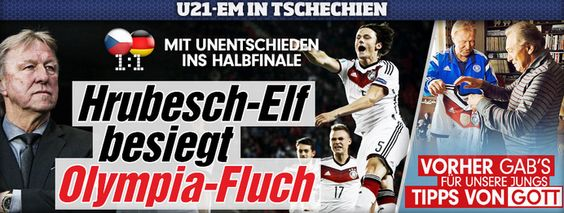 1:1->GER in semifinal lol ;D Told U, nice always worthy, but Czech+Serbia nice too, now wonder GER vs each of both only 1:1 ;D http://www.bild.de/sport/fussball/u21-fussball-em/hrubesch-elf-besiegt-olympia-fluch-41479686.bild.html http://sportdaten.bild.de/sportdaten/uebersicht/sp1/fussball/co1136/em/#sp1,co1136,se8796,ro50890,md0,gm3,ma2296016,pe0,to0,te0,ho28834,aw28796,rl0,na4,nb2,nc1,nd1,ne1,jt0, DEN+SWE usually nicer than GER, but recently not so, no wonder lost vs GER lol