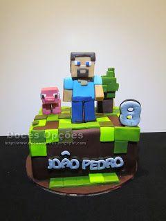 Doces Opções: Bolo de aniversário Minecraft