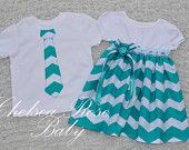 Chevron Twins Outfits, baby and toddler Dress and Brother Tie shirt, Siblings, Twins, Big Brother Little Sister Outfit, Chevron Print, Teal