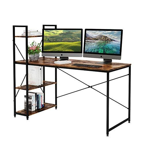 Bestier 55 Inch Computer Desk With Shelves Modern Writing Desk With Bookshelf Pc Desk With Reversibl In 2020 Home Office Desks Desk Shelves Computer Desk With Shelves