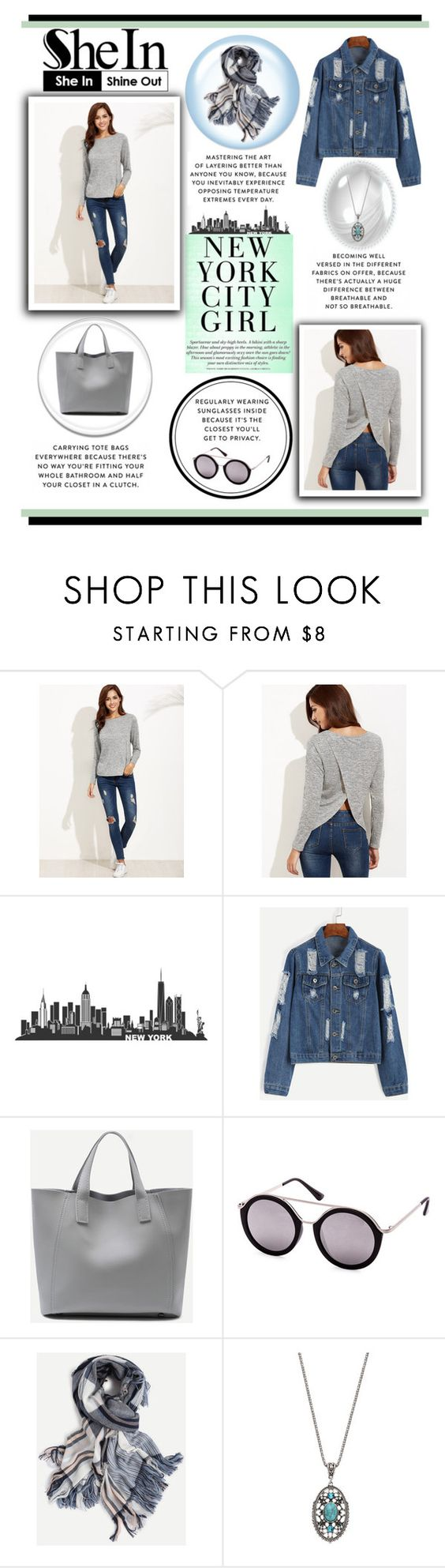 """""""SHEIN: Grey Marled Knit Split Back T-Shirt"""" by rmhodgdon ❤ liked on Polyvore featuring shein"""