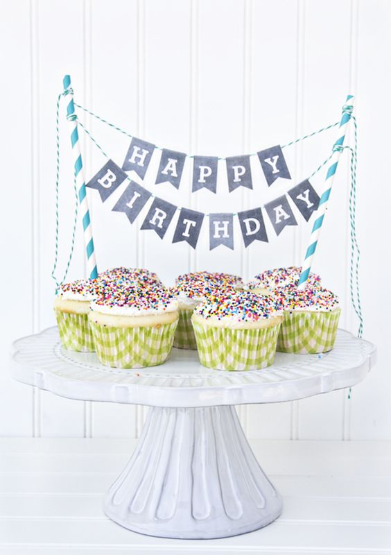 Printable Chalkboard Letters Cake Bunting: Transform an average cake (or cupcakes) into a party-worthy treat by decorating it with this charming chalkboard cake bunting. Just print the letters, fold, glue and attach to straws. (via Yellow Bliss Road)