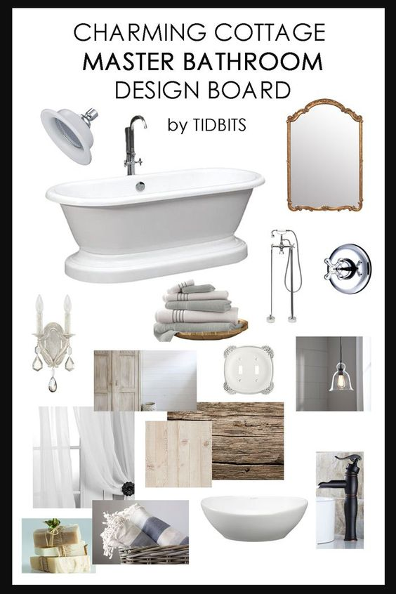 Master bathroom design board. Discover design elements to help create a charming cottage bathroom.