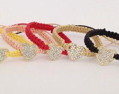 Kit 5 pulseiras shambala coração