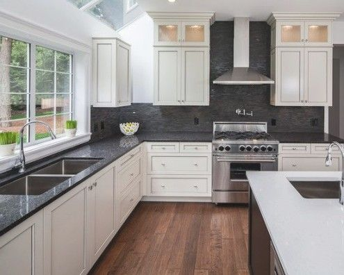 Best 25 Black Granite Countertops Ideas On Pinterest Black Regarding White Kitchen C Shabby Chic Kitchen Cottage Kitchen Design Backsplash For White Cabinets