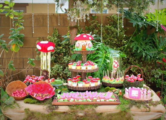 jardim, cogumelo, festas infantil, decoração