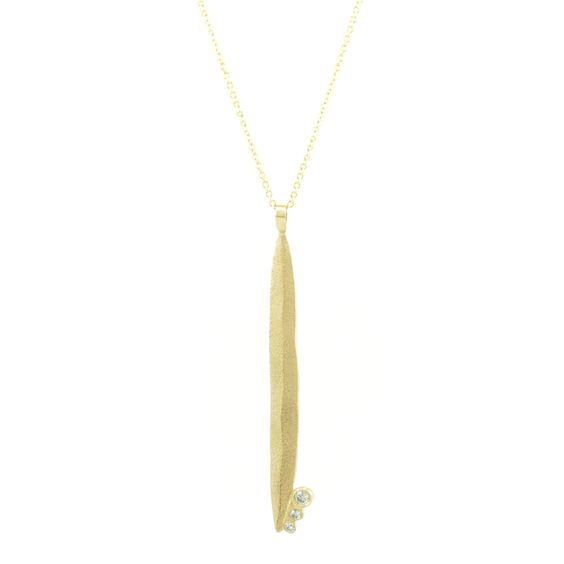 14K Gold Long Leaf Necklace with Diamonds Add this one to your wishlist!