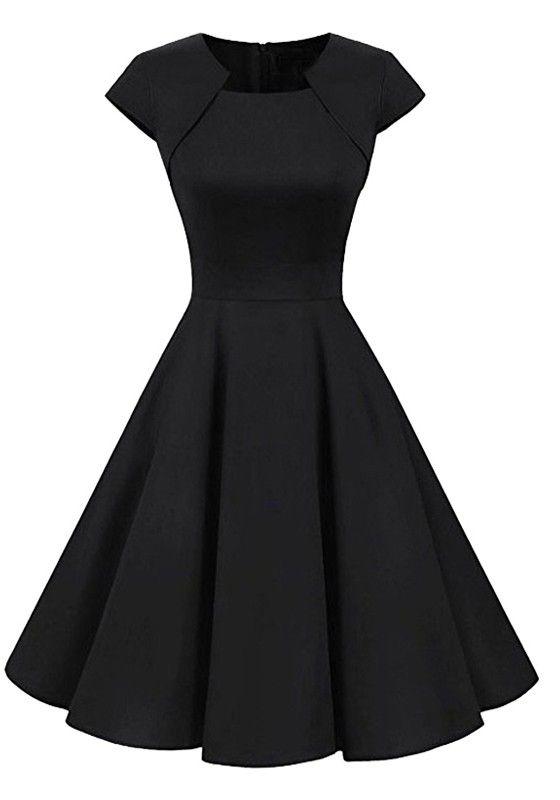 Schwarz Drapierte Rundhals Kurzarm Elegante Knielang Ausgestellter Retro Vintage Midikleid Abendkleid Glocke Kleider Schone Kleider Modische Kleider Fur Frauen