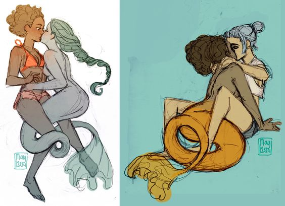 some cute gay mermaids and their human girlfriends