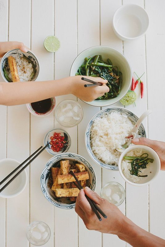 Lemongrass tofu with chilli kang kong