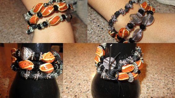 Orange U Happy you stopped by Memory wire bracelet by jewlsoflove, $39.00
