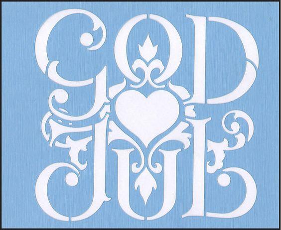 Scandinavian God Jul Christmas Heart Blue Laser Stencil