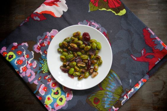 Not a salad - but a good veggie snack. Roasted edamame with cranberries.