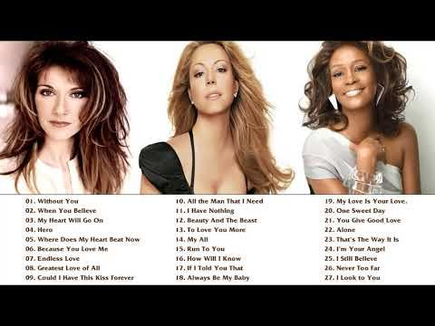 Mariah Carey Celine Dion Whitney Houston Greatest Hits Playlist Best Songs Of World Divas No Ads Youtube In 2021 Mariah Carey Songs Mariah Carey Celine Dion