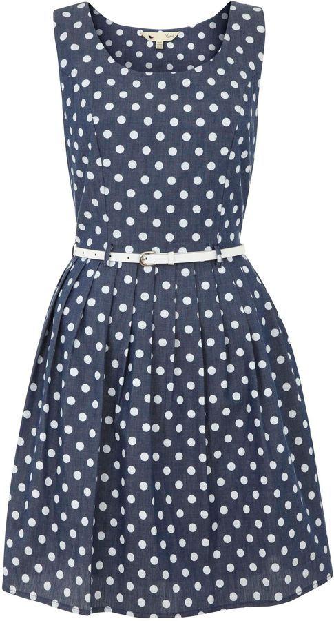 Yumi Polka dot chambray dress on shopstyle.com