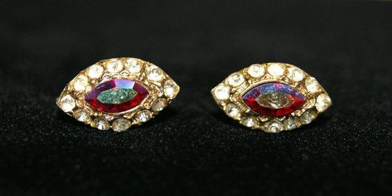 Vintage CORO Red Aurora Borealis Clear Rhinestone Gold Tone Screw Back Earrings #Coro #Cluster