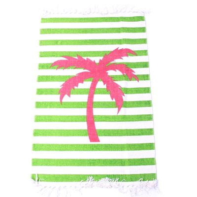 19,90EUR Teppich gestreift grün mit pinker Palme