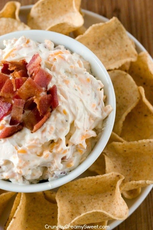 You've gotta taste this easy recipe for Cheddar Bacon Ranch Dip! .....# 6 on my new list! .......Top 10 Best: Easy Dip Recipes .......(ONLY 5 INGREDIENTS,or less--Always!). ......Click the image for the recipe.