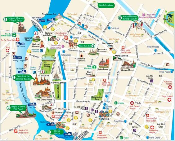 Bangkok Travel Map for Travelers Great guide to the must see – Maps For Travelers