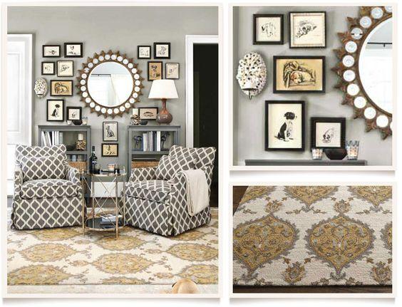 Light Grey Walls Gold Accents Allegro Living Room