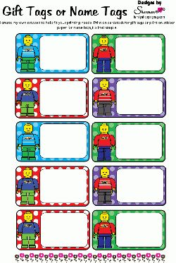Tags, Lego, Gift Tags - Free Printable Ideas from Family Shoppingbag.com