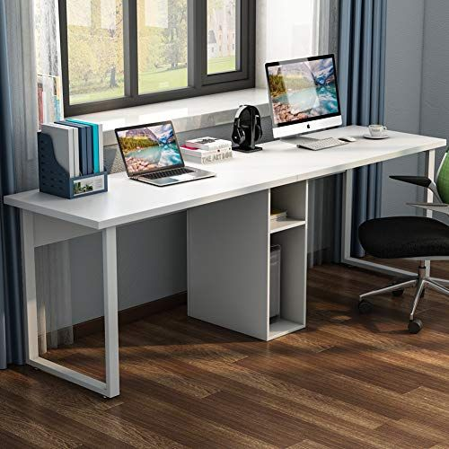 Little Tree 78 Extra Large Double Workstation Computer Desk For Two Person Simple Modern Style Office Desk With S Desk For Two Modern Computer Desk Desk Design