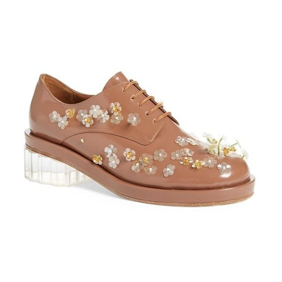 """Simone Rocha Embellished Lace-Up Oxford, 1 3/4"""" heel (24,380 MXN) ❤ liked on Polyvore featuring shoes, oxfords, flats, tobacco, lace up flat shoes, floral flats, platform shoes, flat pumps and platform oxfords"""