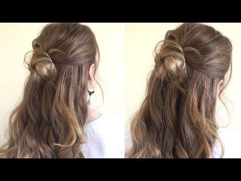 Half Up Half Down Bun Youtube Half Bun Hairstyles Easy Bun Hairstyles Hair Bun Tutorial