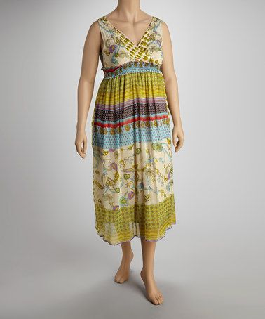Another great find on #zulily! Lime Chiffon Bohemian Maxi Dress - Plus #zulilyfinds