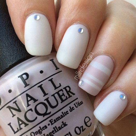Matte White Nails With Stripes and Rhinestones