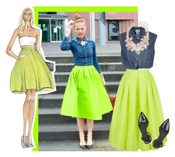 """""""Bright Green Flare Pleated Long Skirt"""" by superwoman48 ❤ liked on Polyvore featuring Jean-Paul Gaultier, Halo & Co. and Alexander Wang"""