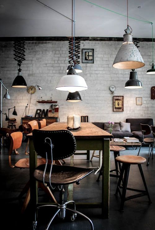 Industrial vintage office and modern offices on pinterest Industrial design office space