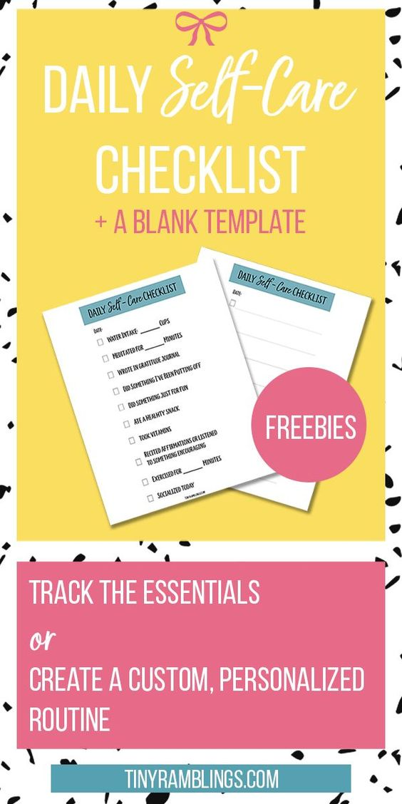 Self Care Daily Checklist With Free Printables Tiny Ramblings Self Care Worksheets Daily Checklist Self Care