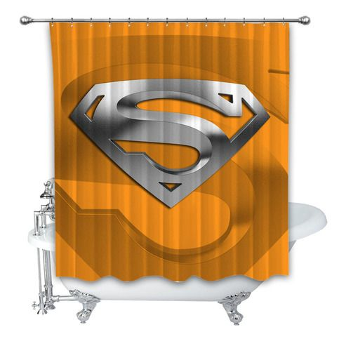 Superman Orange Silver Logo 3d Custom Shower Curtain 100