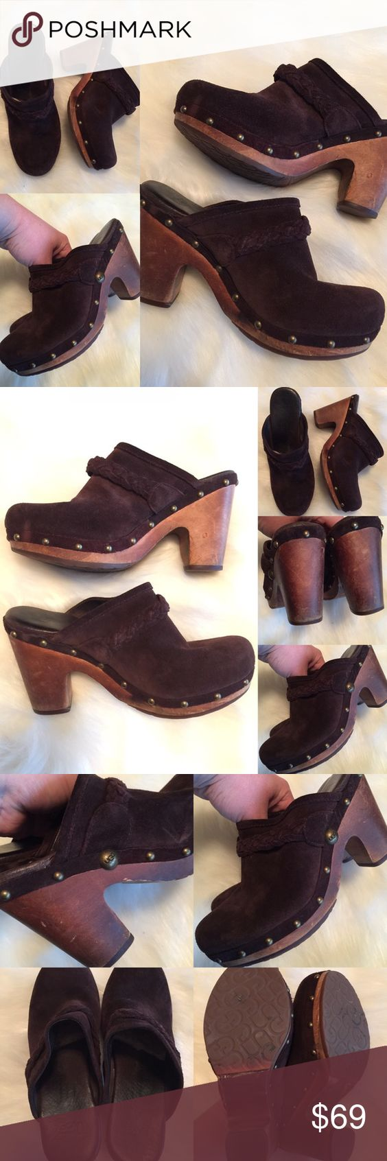 UGGS ❤️ Leather Studded Mule Clogs, Sheepskin Sz 7 Beautiful clogs!  Nicks or sings from general wear as pictured, but overall GREAT condition! ❤️❤️❤️ (A5X20216FTC) Original price is an estimation. UGG Shoes Mules & Clogs