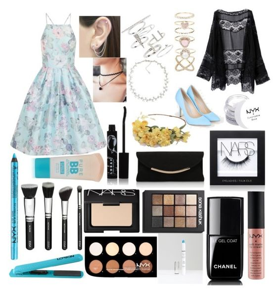"""""""HOCO #1"""" by daisywolfe on Polyvore featuring JustFab, NYX, Chi Chi, Maybelline, Lorion, Otis Jaxon, Topshop, Accessorize, Carolee and Chanel"""