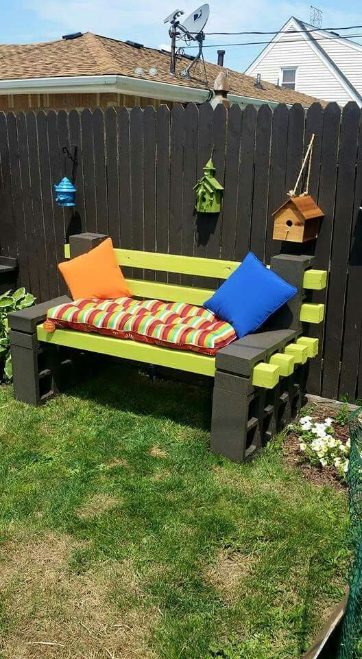 Garden Bench Made Of Cinder Blocks And Pressure Treated