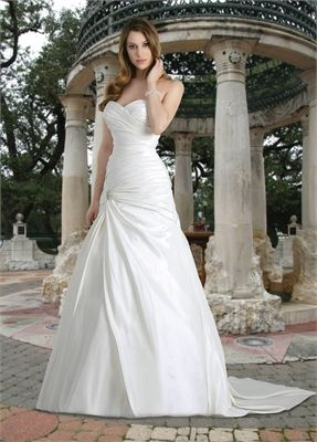 Sweetheart a-line sweep train satin and organza wedding dress WD2150