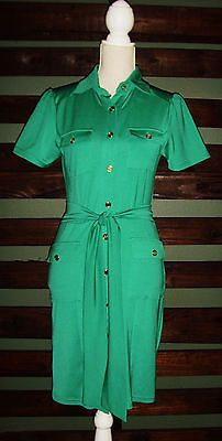 NWT $154 TRACY NEGOSHIAN Kelly Green Button Front Payton Dress Size S