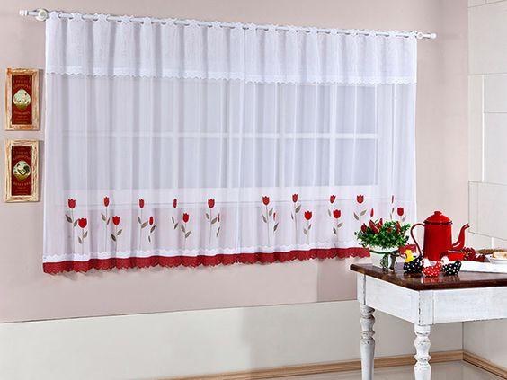 cortina para cozinha vermelha
