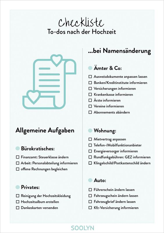 Checklist After The Wedding With Our Checkliste After Hochzeit You Know Come What Aufgaben In 2020 Wedding Checklist Checklist Wedding