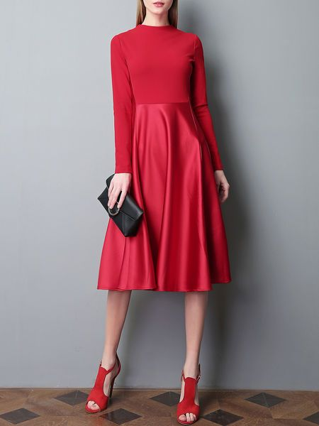 Red Paneled Casual Midi Dress
