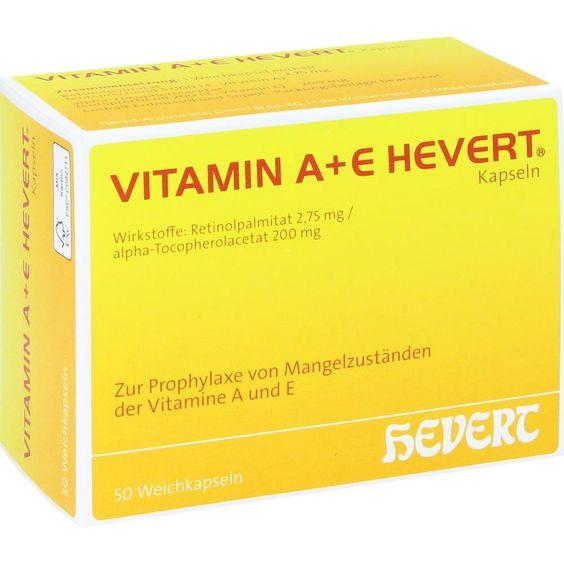 VITAMIN A+E Hevert Kapseln:   Packungsinhalt: 50 St Weichkapseln PZN: 01905453 Hersteller: Hevert Arzneimittel GmbH & Co. KG Preis: 9,01…