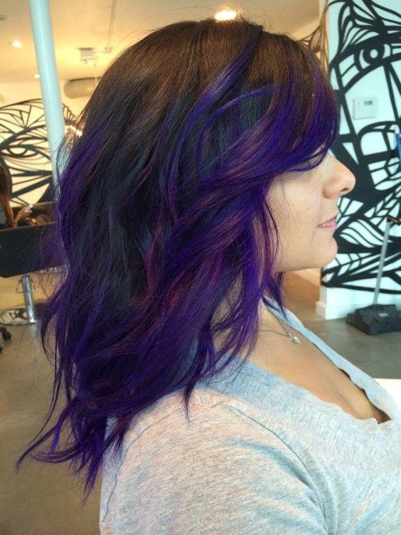 Pin By Kate Pretorius On Hair In 2020 Purple Balayage Hair Styles Dark Purple Hair