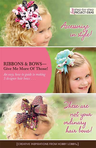 An easy, how-to guide to making 5 designer hair bows . . .click on blue view/ print project button for full color instructions:)