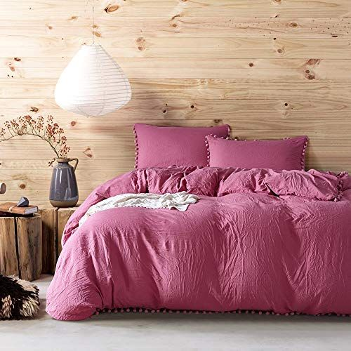 Lu Duvet Cover Set King Size 3 Pcs Bedding Ball Washed Quilt Cover Pillowcase Cotton Simple Fashion With 2 Pillowc Boho Bedding Sets Pink Bedding Bedding Sets