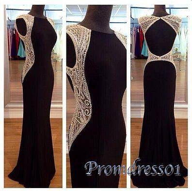 Ball gown, modest prom dress, elegant black chiffon backless evening dress for 2016 #coniefox #2016prom