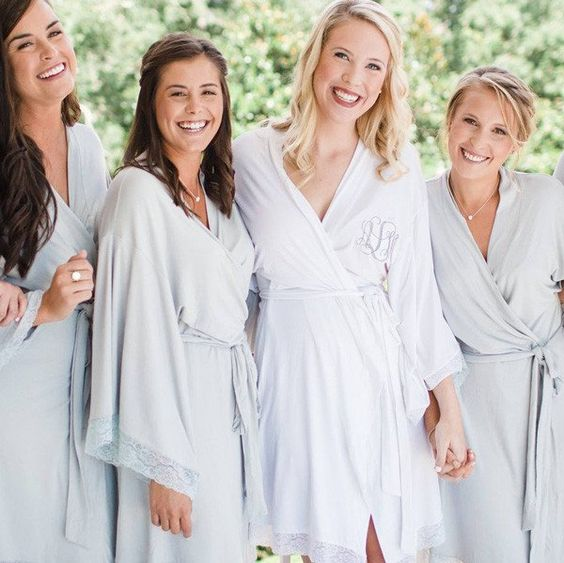 Jersey Lace Robe #bridal-party-robes #bridal-robes #Bride-to-Be