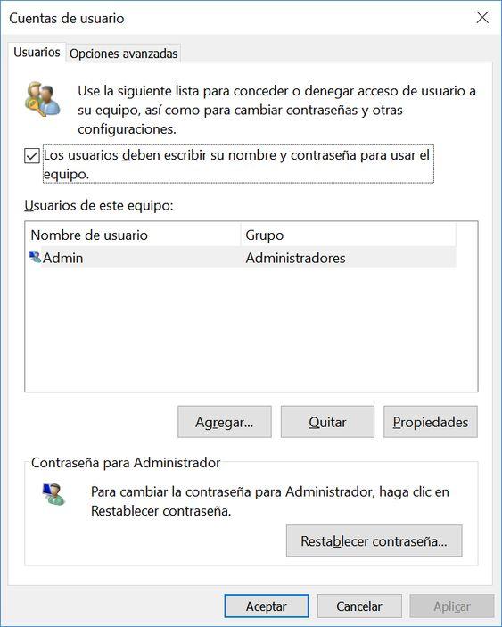 Ventana de configuración: Gestión de cuentas de usuario de windows 10